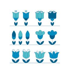 Assorted abstract tulip flower motif design vector