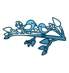 Blue silhouette of birds and nest in tree branch vector