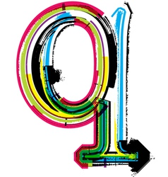 Grunge colorful font letter q vector