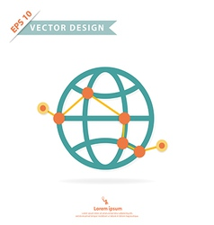 Wire frame global with point and route vector image