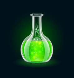 Transparent flask with magic green liquid on black vector