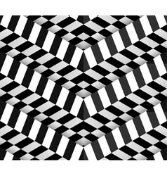 3d Checkered Black White Seamless Pattern vector image