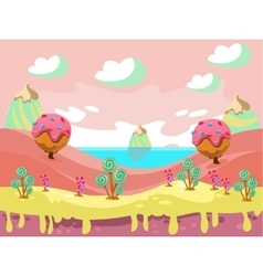 Fantasy sweet food land vector