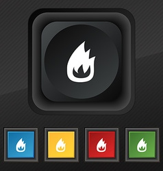 Fire flame icon symbol set of five colorful vector