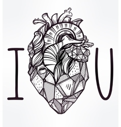 Heart of stone art i love you poster vector