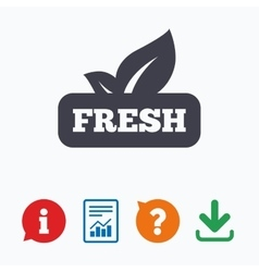 Fresh product sign icon leaf symbol vector