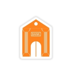 Stylish sticker on paper bank building on a white vector