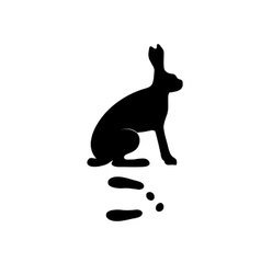 Black silhouette hare rabbit wild animal zoo vector