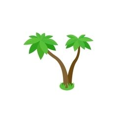 Two palm tropical trees icon isometric 3d style vector