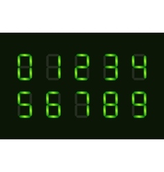 Set of green digital number signs made up from vector