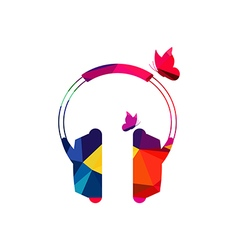 Abstract headphone polygon low-poly vector