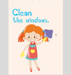 Action verb flashcard with girl cleaning windows vector
