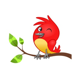 birdie on tree branch vector image vector image