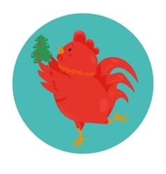 Cartoon chinese zodiac fire rooster vector