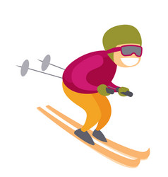 Caucasian white skier skiing downhill in mountains vector