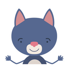 Colorful half body caricature of cute cat vector