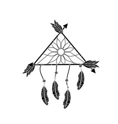 Contour beauty dream catcher with feathers and vector