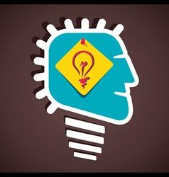 creative bulb sign in human head stock vector image vector image