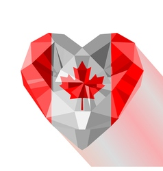 Crystal gem jewelry canadian heart with the flag vector