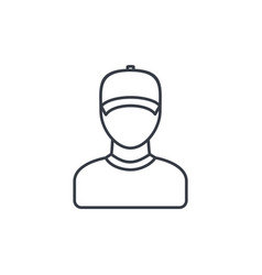 Delivery man in cap courier thin line icon vector