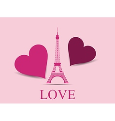 Eiffel tower with hearts vector