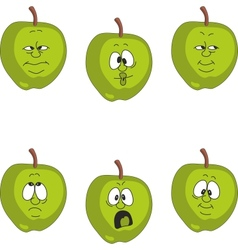 Emotion green apple set vector image vector image
