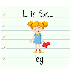 Flashcard letter L is for leg vector image
