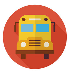 Flat School and Education Bus Circle Icon with vector image vector image