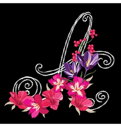 Flower font hand drawn vector image