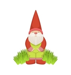 Garden gnome standing on grass vector