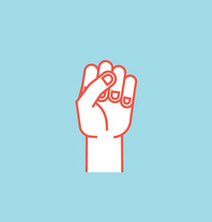 Gesture power sign stylized hand with all vector