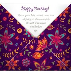 Happy Birthday card with colorful floral pattern vector image