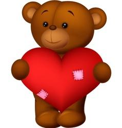 Happy cartoon bear holding heart vector image