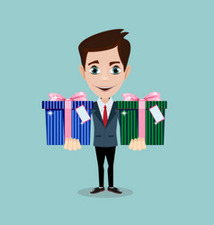 happy man and gift box with bow vector image