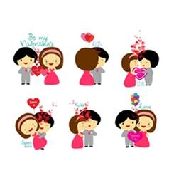 Happy valentines couple set vector