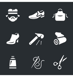 Icons set of shoemaker vector