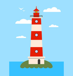 Lighthouse on island with navigation light vector