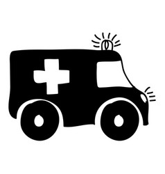 monochrome hand drawn silhouette of ambulance vector image vector image