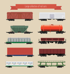 Rail freight wagons vector