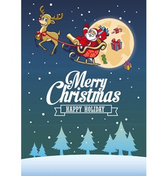 Santa claus and the deer fly around the night sky vector