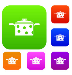 Saucepan with white dots set collection vector