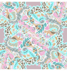 Seamless hand-drawn pattern with abstract leaves vector