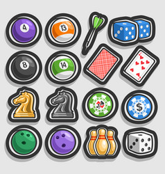set of gaming and gambling equipment vector image vector image