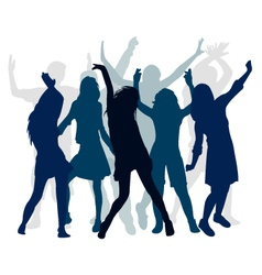 silhouette people dance vector image