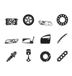 Silhouette Realistic Car Parts and Services icons vector image