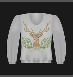 Sweatshirt template with deer vector