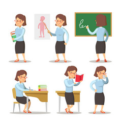 teacher cartoon character set woman with pointer vector image vector image