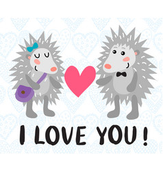 valentine s day greeting card with hedgehogs vector image vector image