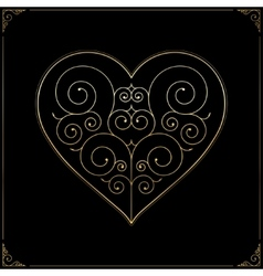 Valentines day heart ornate line art love symbol vector