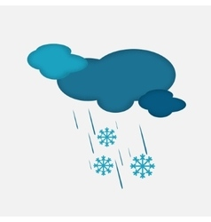 Weather icon of the cloudy sky with snow and rain vector